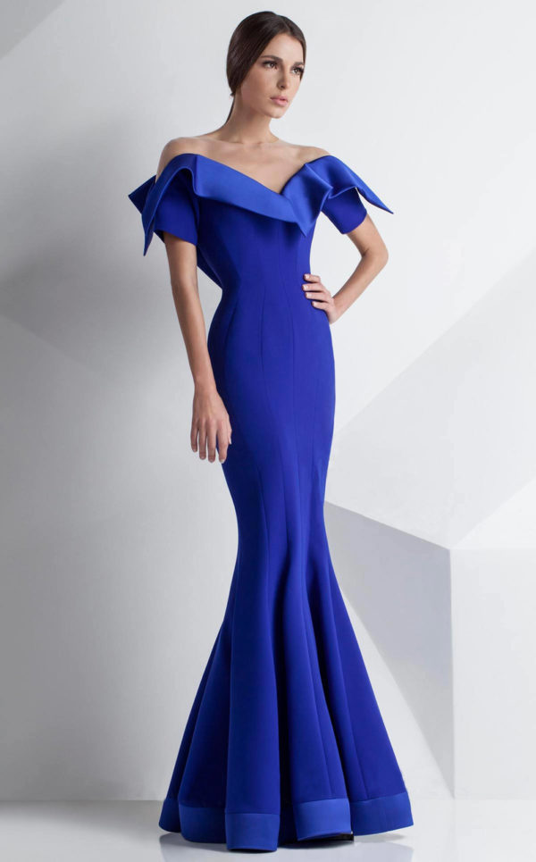 Mnm Couture Folded Off Shoulder Mermaid Gown G0782